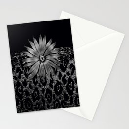Animal Print Leopard Glam Flower Silver and Black Diamond Stationery Cards