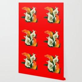 RED & WHITE-ORANGE CALLA LILIES GREY-GOLDEN GARDEN Wallpaper