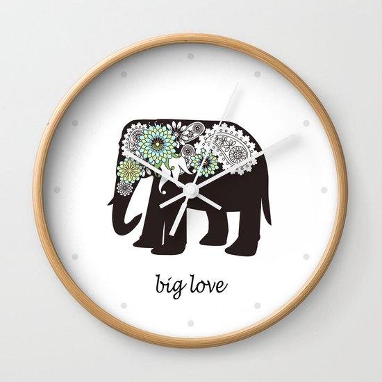 Paisley Elephant - Big Love Wall Clock