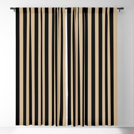 Tan Brown and Black Vertical Stripes Blackout Curtain
