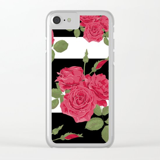 Red roses with horizontal stripes black white Clear iPhone Case