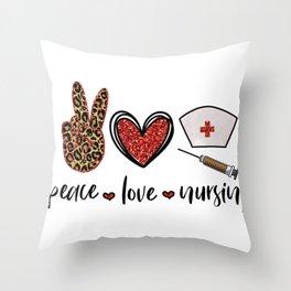 Nurse Gifts to Ship Peace Love Nursing Nurse Hat Throw Pillow