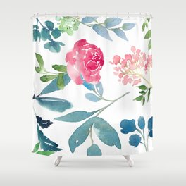 Floral on White Shower Curtain