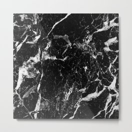 black white marble Metal Print