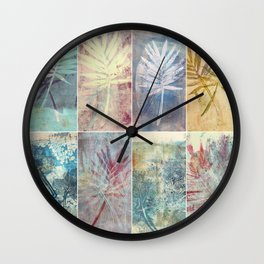 Monoprint collage of leaves Wall Clock