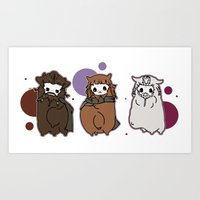 nori Art Prints featuring Dwarpaca family #3 by Lady Cibia