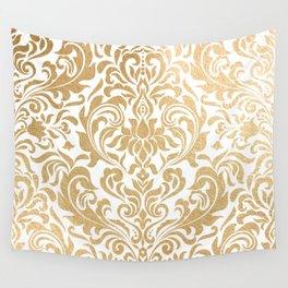 Gold foil swirls damask #12 Wall Tapestry