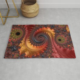 Feathery Flow - Red Fractal Art Rug