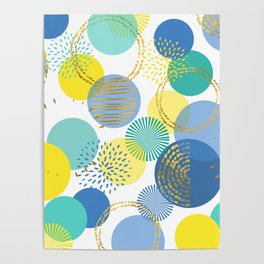 Abstract Circles Geometric Pattern Vintage Print Poster