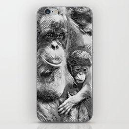 AnimalArtBW_OrangUtan_20170910_by_JAMColorsSpecial iPhone Skin