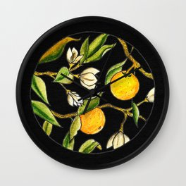 Orange Tree Circular Illustration Design On Textured Black Background Wall Clock