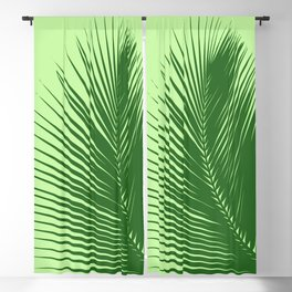 Large Palm Leaf, Emerald and Lime Green Blackout Curtain
