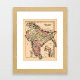 Map Of India 1857 Framed Art Print