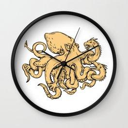 Giant Octopus Fighting Hydra Drawing Wall Clock
