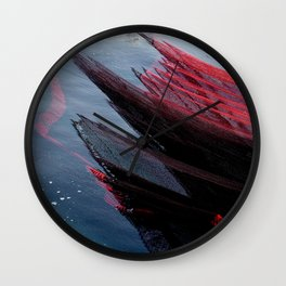 """Travel Photography """"red color fishing nets in in green water of the Bosphorus, Istanbul, Turkey"""" colorful pattern for fine art photo print.  Wall Clock"""