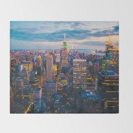 New York City, Manhattan at night Throw Blanket