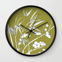 bamboo and plum flower in white on yellow Wall Clock