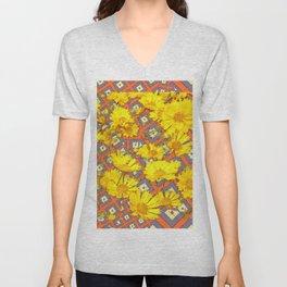 Golden Yellow Blooming Coreopsis Flowers Modern Art Unisex V-Neck