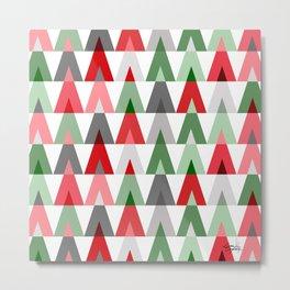 Geometric Triangles | red green white Metal Print