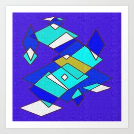 Blue white and turquoise Art Print