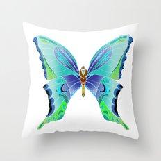 Butterfly Blues Throw Pillow