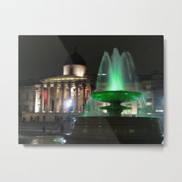 The National Gallery And Trafalgar Square Water fountains Metal Print
