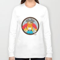 captain hook Long Sleeve T-shirts featuring Captain Hook Pirate Circle Cartoon by patrimonio