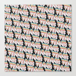 Tennis Trendy Rainbow Text Pattern (Black) Canvas Print