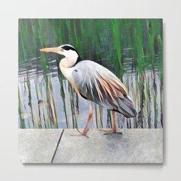 Heron in Watercolour Metal Print