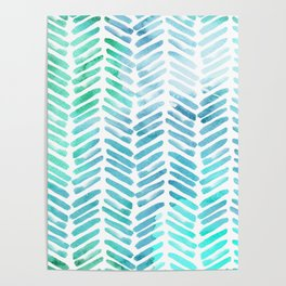 Handpainted Chevron pattern - light green and aqua - stripes Poster