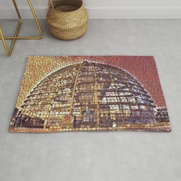 Germany Reichstag Dome Artistic Illustration Retina Stones Style Rug