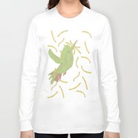 french fries Long Sleeve T-shirts featuring Bird eat French fries by pexkung