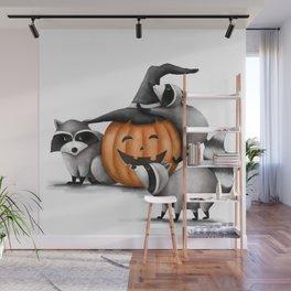 Raccoons and Jack-O-Lanterns Wall Mural