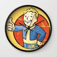 fallout Wall Clocks featuring Fallout Vault boy by Krakenspirit