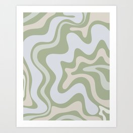 Liquid Swirl Contemporary Abstract Pattern in Light Sage Green Art Print