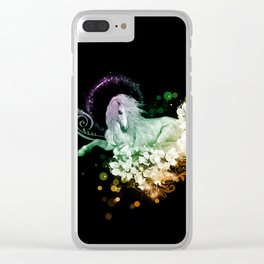 Wonderful unicorn with flowers Clear iPhone Case
