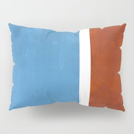 Antique Pastel Blue Brown Mid Century Modern Abstract Minimalist Rothko Color Field Squares Pillow Sham