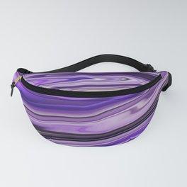 Purple Waves Abstract Art, Digital Fluid Art Ripples Blend Fanny Pack