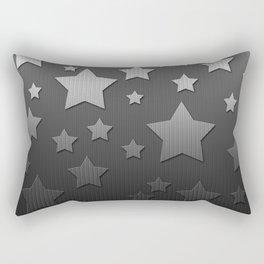 Black and White Herringbone Embossed Stars Rectangular Pillow