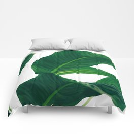 Green Leafs (Color) Comforters