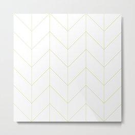 Herringbone Chevron (Thin Apple Green On White) Metal Print