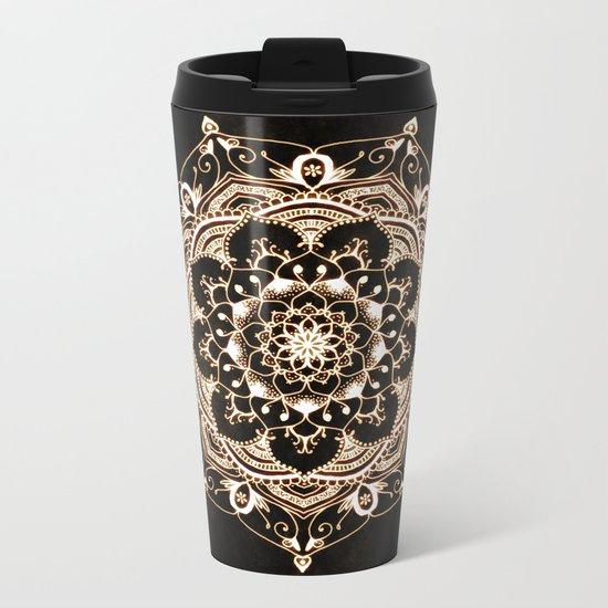 Glowing Spirit Black White Mandala Design Metal Travel Mug