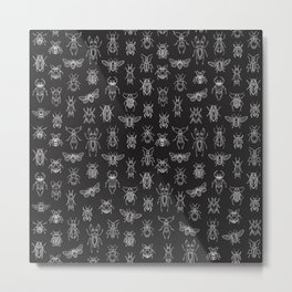 Insects Pattern (Black) Metal Print