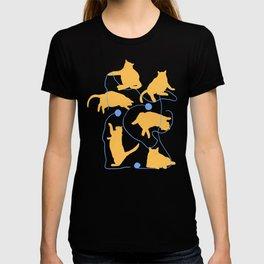 Fat Orange Cats and Blue Yarn T-shirt
