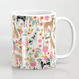 Great Dane floral dog breed pet friendly pet pattern great danes pure breed Coffee Mug