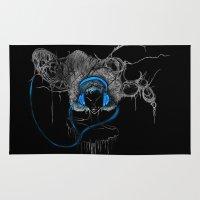headphones Area & Throw Rugs featuring Blue Headphones by MadBundy