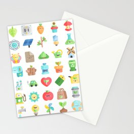 CUTE GREEN / ECO / RECYCLE PATTERN Stationery Cards