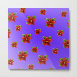 Red Flowers Pattern 3 Metal Print