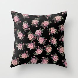 Pink Roses Dark Floral Pattern Throw Pillow