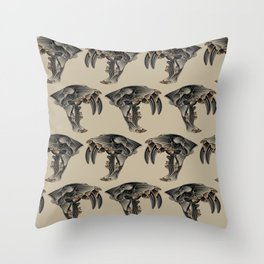 Ancient Warrior (Sabertooth Skull) Throw Pillow